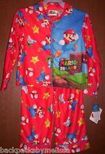 Super MARIO 3-D Land Pajamas Boy's 4/5 NeW Flannel L/S Shirt Pants Pjs Set NWT