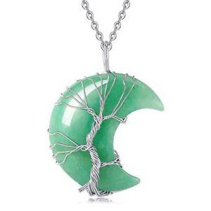 Natural Healing Crystal Quartz Tree Of Life Moon Crescent Stone Pendant Necklace