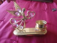 24kt Gold Plated Austrian Crystal  Angel Candle Holder by Mascot U.S.A.