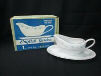 Fine China Japan ENGLISH GARDEN 1221 Platinum Gravy Boat And Plate In Box (AD)