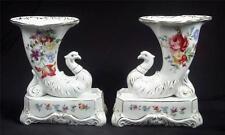 Beautiful Czech Cornucopia Horn Vase Birds Floral with Gold Trim ~ Set of 2