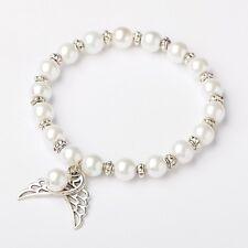 5 White Glass Pearl Angel Wings Bracelets, Bridal, Bridesmaids UK