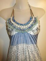 Sky Brand Clothing XS NWT Maxi Dress Beaded Halter Blue White Printed Cocktail