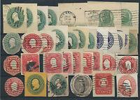 FRANCOBOLLI 1883/1928 USA/STATI UNITI LOTTO RITAGLI DI INTERI POSTALI D/6064