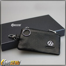 new VOLKSWAGEN Genuine Cow Leather Car Key Bag Remote Cover Fob Holder Case VW