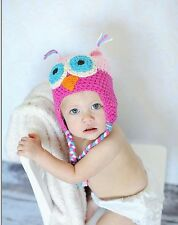 Baby kids Girls knitting Knit Pink Owl Parrot Warm Crochet Beanie Hat Cap Prop