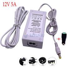 12V 5A LED Fuente de alimentación 60W Adaptador DC12V a 110V-220V para Tira de LED U.S./EU enchufe