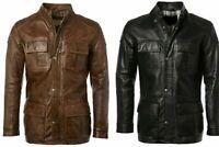 Mens Timber Black & Brown 3/4 Long Coat Leather Jacket Bomber Biker Cafe Racer