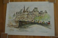 "Urbain Huchet "" Hotel De Ville  "" Original Lithograph Hand Signed 21 / 50 HC Edt"