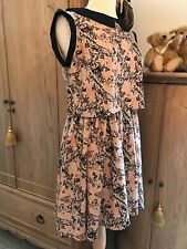 LOVE LABEL Peach & Black Peter Pan Collar Snakeskin Print Dress UK 12 New
