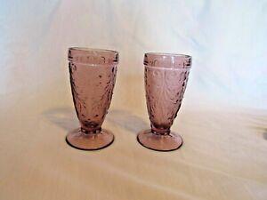 Vintage Pair of Plum Amethyst Tiara Sandwich Tea Glasses