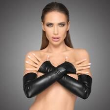 NOIR HANDMADE Kunstleder Armstulpen Opern Handschuhe Wetlook Opera Gloves