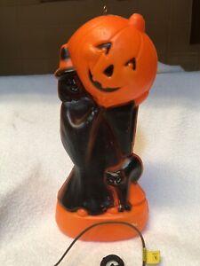 Vintage General Foam Halloween Blow Mold Witch Pumpkin & Black Cat JOL