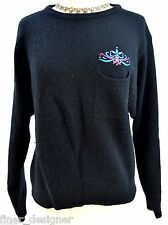DONCASTER Angora fuzzy sexy Sweater knit pullover L/S embroidered top M VTG 80s