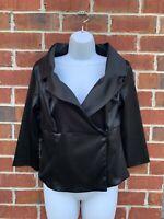 White House Black Market Black Satin Blouse 10 Medium Dressy Top Faux Wrap