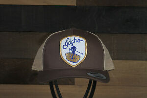 Vintage Ski Idaho Patch on a Yupoong 6606 Trucker Snapback Hat