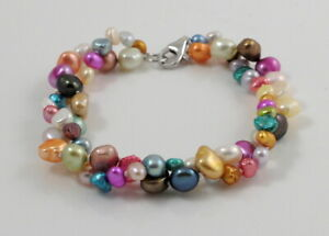 Double-strand Colourful Baroque Freshwater Pearl Bracelet & Sterling Silver Lobs