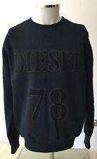 DIESEL S-Yon Disobey Overhead Felpa-Large-Blu Scuro-Logo RRP £ 99 Nuovo con etichette