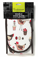 DOUBLE OVEN GLOVES / MITTS by Cooksmart _100% Cotton-Kitchen-INSULATED-HOME