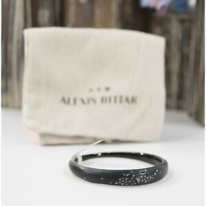 Alexis Bittar Black Lucite Noir Dust Crystal Bangle Bracelet NWT