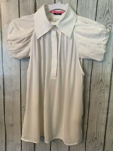 Alice + Olivia towork White Silk Pleated Sleeveless Shirt size Small