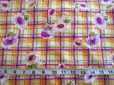 MM FAB Cotton Fabric Pink Purple Plaid Watercolor Flowers Quilt Decor 32L x 43W
