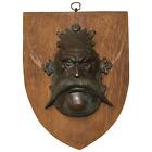 Rare 1930's Vintage Bronze Acanthus Moustache Mask Green Man Wall Shield Plaque