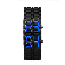 Lava Style Iron Samurai Black Bracelet LED Blue light Japanese Inspired Watch_q