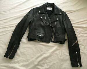 Acne Black Cropped Biker Leather Jacket Moto Jacket Women