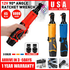 12V 3/8''Cordless Electric Ratchet Wrench Degree Power Tool W/ 2 Battery+Charger