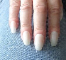 500 x COFFIN FALSE NAILS FULL COVER NATURAL OPAQUE **SHORTER LENGTH - PINK CANDY