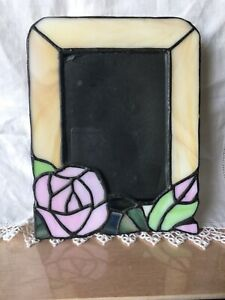 Vintage Beautiful Stained Glass Picture Frame Rose Design Flower Photo