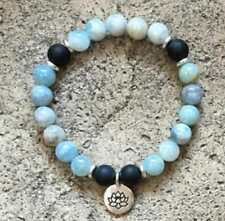 Black Onyx & Aquamarine Natural Beads 8 Mm Mala Cuff Bracelet Man Yoga Pendant
