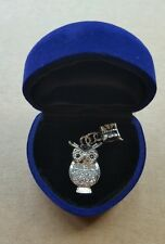 Beautiful 925 silver night owl charm bracelet pendant with heart box brand new !