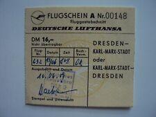 Flugschein Deutsche Lufthansa (Interflug), Dresden - Karl Marx Stadt, DDR 1959