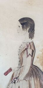 Early 19th c. NEW ENGLAND - WATERCOLOR MEMORIAL PORTRAIT PAINTING OF YOUNG GIRL