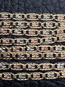 14k Tri-color Gold Chain With Diamond Cuts