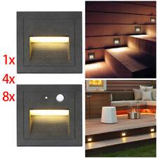 230V warmweiß LED Wandeinbauleuchte Treppe Stufenlicht Lampe Bewegungsmelder Alu