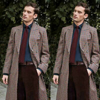 Overcoat Plaid Jacket Double Breasted Peak Lapel Men Suits Wedding Party Casual