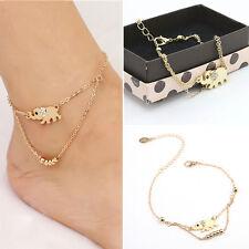 Women's Girls Mini Elephant Animal Rose Gold Plated Anklet Foot Jewellery Boho