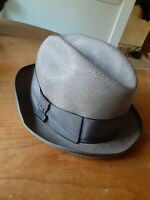 Vtg Mallory Fifth Avenue Men's Straw Fedora Hat 7 1/8 Brown