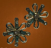 Vintage Gold Tone Green Rhinestone Screw Back Earrings