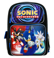 "Sonic the Hedgehog Large Backpack School Bag 16"" Licensed by SEGA- NEW W TAG"