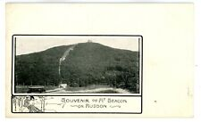 Beacon NY -TROLLEY AT BASE OF MOUNT BEACON- Postcard MT Matteawan Great View!