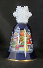 Blue Avon Collectable Bell Christmas Carolers Snowflake Handle Gold Rim 1987