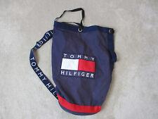 VINTAGE Tommy Hilfiger Draw String Backpack Nap Sack Book Bag Big Flag Spell Out