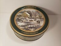 Currier & Ives Green collectors tin Early Winter Empty