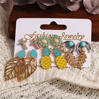 6Pairs/Set Elegant Women Pineapple Leaves Crystal Earrings Set Jewelry Ear Stud