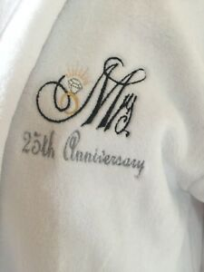 Embroidered Luxury Mr OR  Mrs white dressing gown Wedding Anniversary Gift