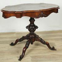 Tavolino tavolo antico in legno ovale a biscotto radica di noce piede centrale